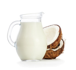 Coconut milk on a white background