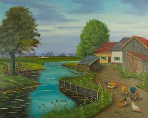 Freilaufende Hühner auf einem Weg neben dem Fluß