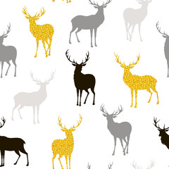 Seamless Christmas pattern with black, gray and gold silhouettes of deer
