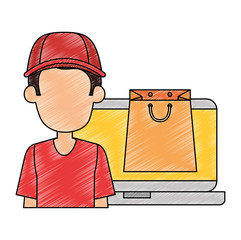 laptop with delivery worker and shopping bag