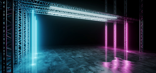 Sci-FI Futuristic Modern Dark Stage Structure On Concrete Wet Floor With Purple And Blue Glowing Neon Tube Lights Empty Space Wallpaper Background 3D Rendering