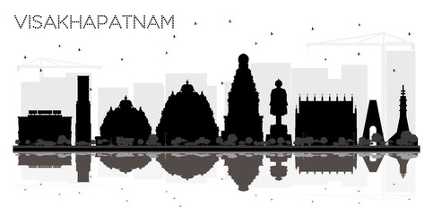 Visakhapatnam India City skyline black and white silhouette with Reflections.