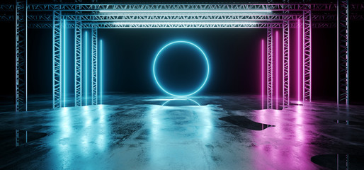 Sci-FI Futuristic Modern Dark Stage Structure On Concrete Wet Floor With Purple And Blue Glowing Neon Tube Lights With Glowing Neon Circle Shapes Empty Space Wallpaper Background 3D Rendering