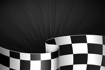 Black rally background, sport banner. Checker flag