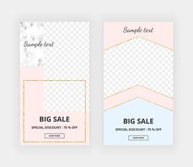 Modern geometric design for instagram, social media, online store, banner, card, brochure, flyer, invitation, birthday, wedding, baby shower. Pink, blue and gold glitter lines. Fashion background.