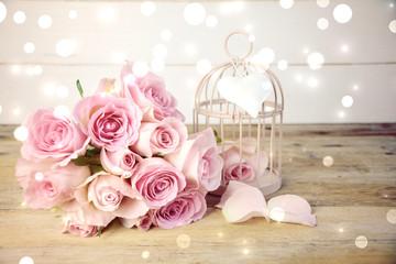 Grußkarte - Rosenstrauß rosa nostalgisch
