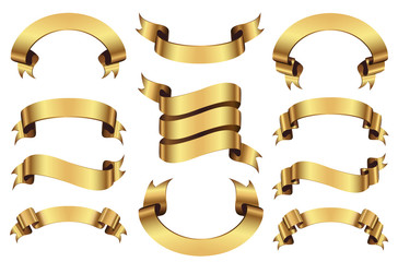 Set of golden ribbons banners isolated on white background.