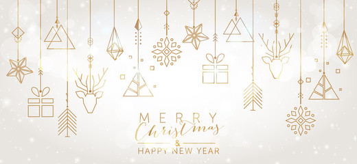 Christmas and New Year background with geometric elements Wall mural