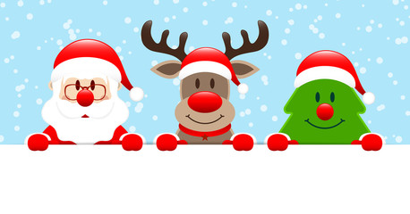 Santa, Rudolph & Tree Banner Snow Blue