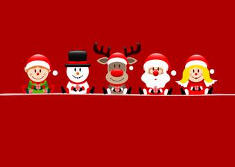 Card Elf, Snowman, Rudolph, Santa & Angel Gift Red