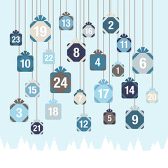 Advent Calendar Hanging Gifts Blue