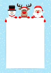 Poster Santa, Rudolph & Snowman Banner Snow Light Blue A4