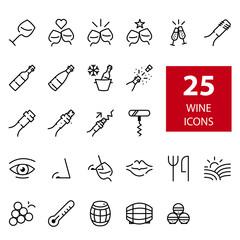 Set de iconos vino línea fina