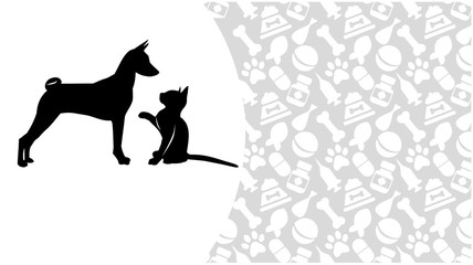 Cat and dog on the background of Zoological accessories