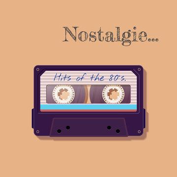 Vintage audio cassette. Nostalgia of the 80's 90's. Vector illustration.