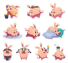 Set of stickers cartoon pigs