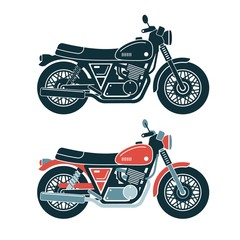 A classic retro motorcycle. Stamp style. Colored and monochrome vector illustration.