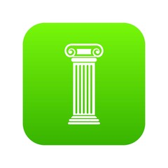 Roman column icon digital green for any design isolated on white vector illustration
