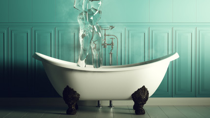 Steamy Turquoise Blue Bathroom With Iron Bath and Standing Water Nymph Spirit 3d illustration 3d render