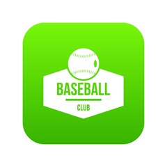 Baseball icon green vector isolated on white background