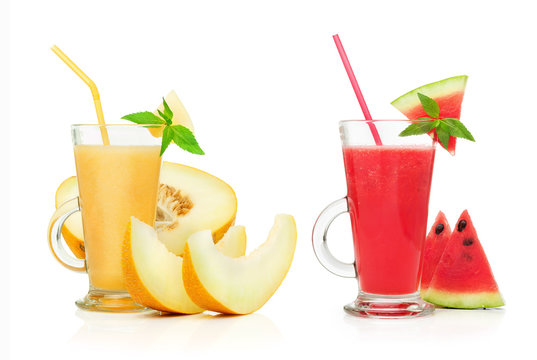 fresh watermelon and melon smoothie