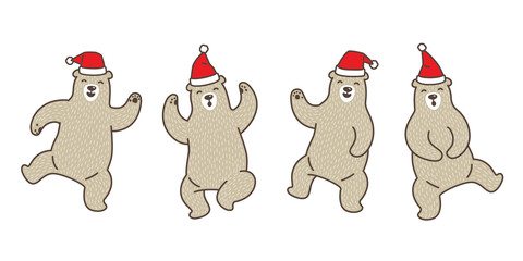Bear vector polar bear Christmas Santa Claus dance cartoon character doodle illustration