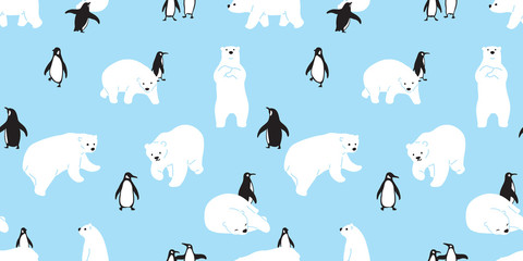 bear seamless pattern polar bear vector penguin Christmas scarf isolated cartoon illustration tile background repeat wallpaper