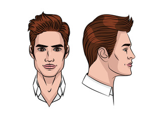 Vector color illustration of a man's face. Cute young man in front and in profile. Avatar of a young stylish guy with hair styling