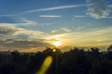 beautiful sky with a rising sun