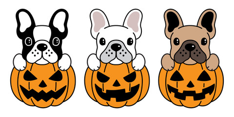 dog vector french bulldog pumpkin Halloween icon logo illustration symbol cartoon
