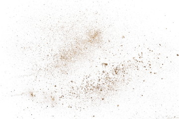Dirt dust isolated on white background and texture, top view