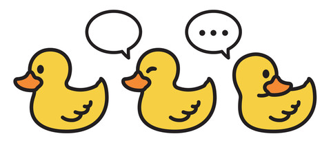 duck vector icon logo cartoon character rubber duck  illustration bird farm animal symbol clip art doodle yellow
