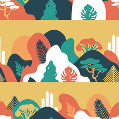 Wall Murals Green coral Seamless pattern. Mountain hilly landscape with tropical plants and trees, palms, succulents. Scandinavian style. Environmental protection, ecology. Park, exterior space, outdoor. Vector illustration.