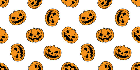 pumpkin seamless pattern Halloween vector ghost spooky scarf isolated repeat wallpaper tile background