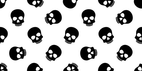 skull seamless pattern Halloween vector pirate Crossbones  bone poison Ghost scarf isolated repeat wallpaper tile background