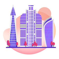 Multi-storey skyscrapers, a modern city. Office buildings in the center of the metropolis. High-tech buildings. Flat vector cartoon illustration.