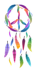 Colorful dream catcher with pacific sign and sign of peace made of feathers. Pacific. Vector element for your design.  Vector native illustration for printing on a T-shirt, postcard, cover and for you