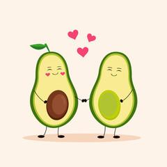 Cute avocado. Avocado love. Vector Illustration.