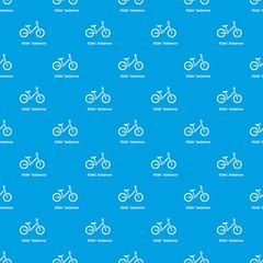 Kids balance bike pattern vector seamless blue repeat for any use