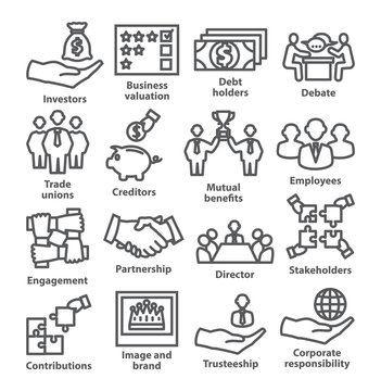 Business management line icons Pack 32