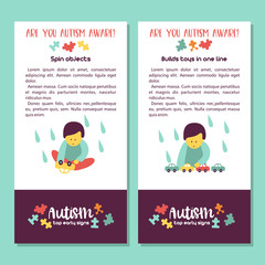 Autism. Early signs of autism syndrome in children. Vector illustration.