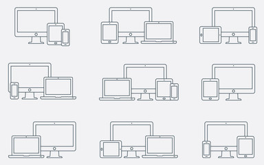 Obraz Vector set of outline device icons. Responsive digital devices icons. - fototapety do salonu
