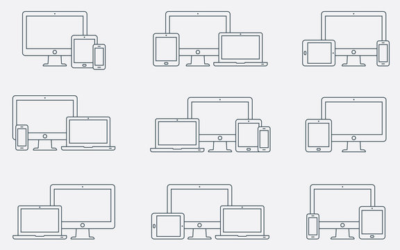 Vector set of outline device icons. Responsive digital devices icons.