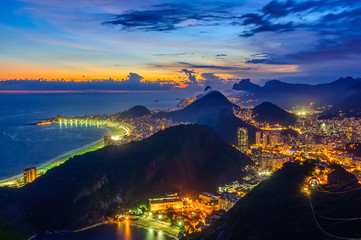 Sunset view of Copacabana and Botafogo in Rio de Janeiro, Brazil