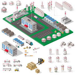 ensemble d'objets et bâtiments industriels isométriques