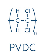 Polyvinylidene chloride (PVDC) polymer, chemical structure. Skeletal formula.