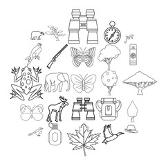 Wild territory icons set. Outline set of 25 wild territory icons for web isolated on white background