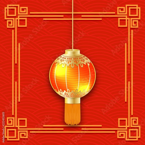 glowing chinese lantern 3d detailed flashlight chinese new year