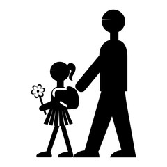 Vector illustration of a flat-style pictogram back to school image of a schematic girl with a flower and a backpack walking with her father's father an adult to school