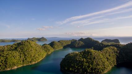 forrest islands aerial view bird blue lagine siargao philippines horizon ocean